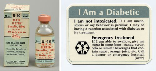(Left) Insulin, 1962, likely similar to the kind Sotomayor would have used as a child. (Right) I Am a Diabetic wallet card, 1972, similar to the one described in the book.
