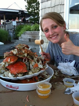 Molly with her crab feast