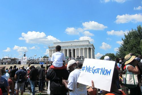 In august 2013, the public commemorated the anniversary of the March on Washington. Photo by AFSC Photos/Neah Monteiro via the Flickr creative commons license.