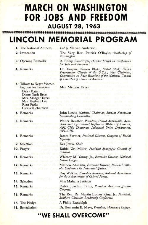 Original March on Washington program