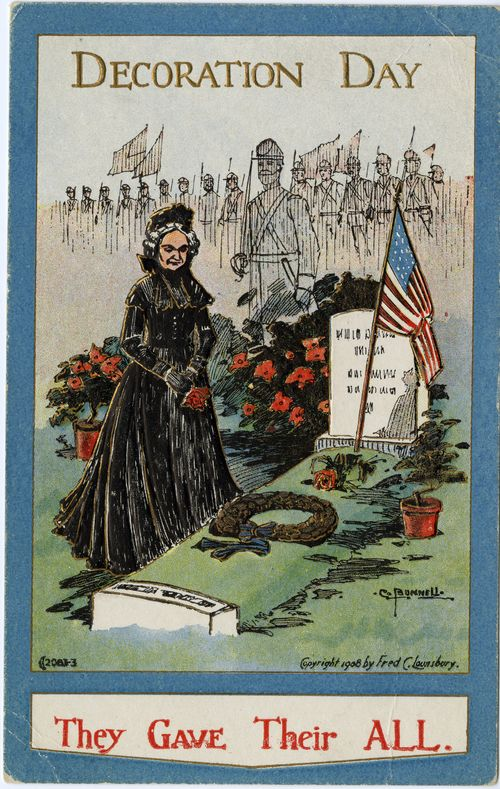 Decoration Day postcard depicting a woman in mourning clothes at the grave of a Civil War soldier, 1908. Armed Forces History, XG ID# ZZ*RSN82658W00.