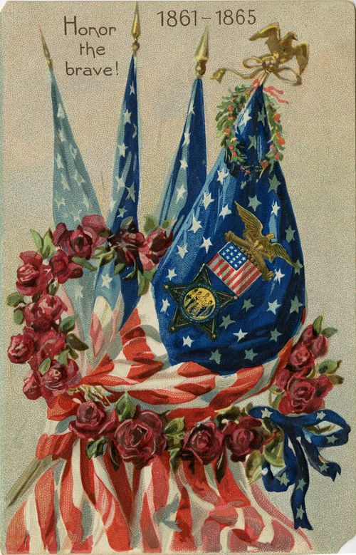 "Divided-back picture postcard, showing an American flag with a wreath of roses around it and the words, ""Honor the brave 1861-1865."""