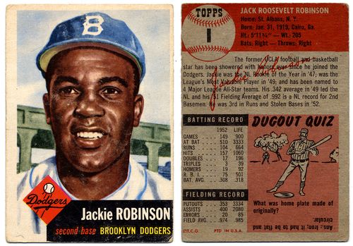 Jackie Robinson baseball card, front and back, Ronald S. Korda Collection of Sports and Trading Cards. (Coll. 545).