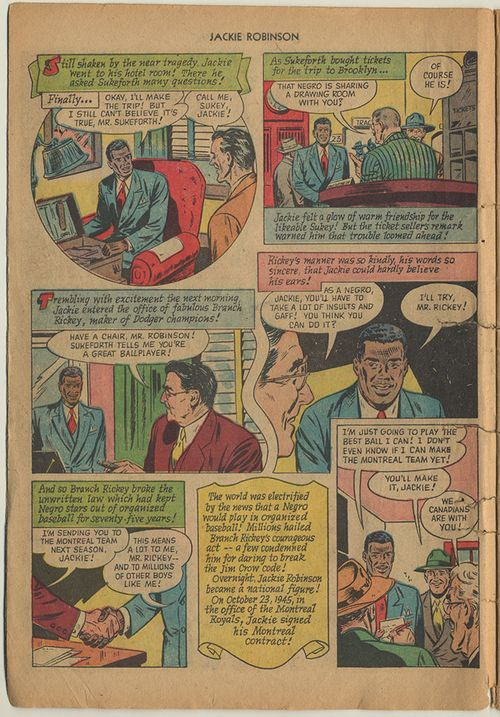 """As a Negro, Jackie, You'll have to take a lot of insults and gaff! You think you can do it?"" asks Branch Rickey in the third panel of this page."
