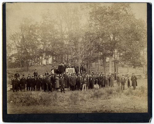 Photograph of monuments on the Gettysburg battlefield, 1880s