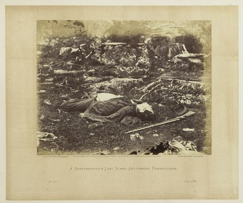 Page, Gardner's Photographic Sketchbook of the War, Volume I. Plate 40: A Sharpshooter's Last Sleep, on Battlefield July, 1863. Photograph and print by Alexander Gardner. 1986.0711.0334.40.
