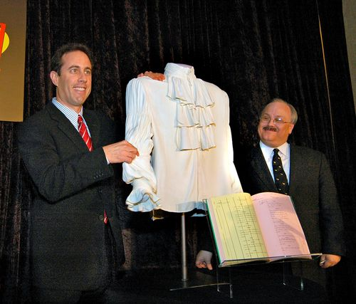 Jerry Seinfeld visited the museum in 2004 to donate the puffy shirt. Curator Dwight Blocker Bowers would have liked to collect the comedian himself!