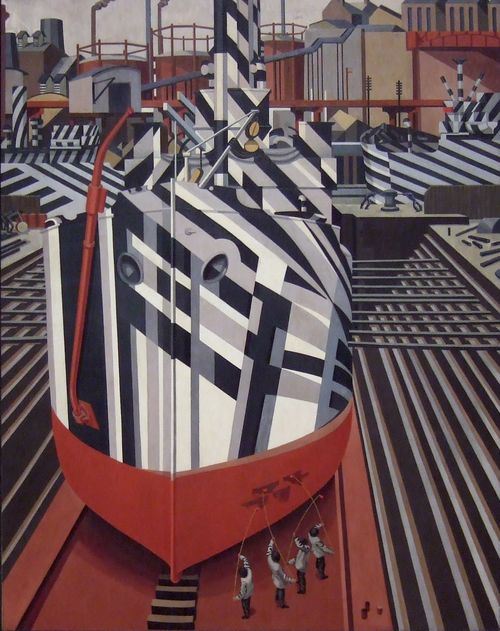 Edward Wadsworth. Dazzle-ships in Drydock at Liverpool, 1919. National Gallery of Canada, Ottawa.