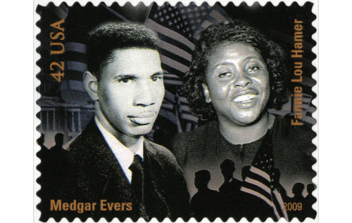 A stamp featuring Fannie Lou Hamer with fellow civil rights activist Medger Evers, from the collection of the Smithsonian National Postal Museum