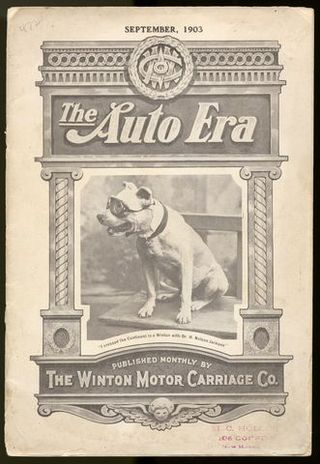 "Cover of ""The Auto Era,"" featuring Bud the dog, from our transportation collections"