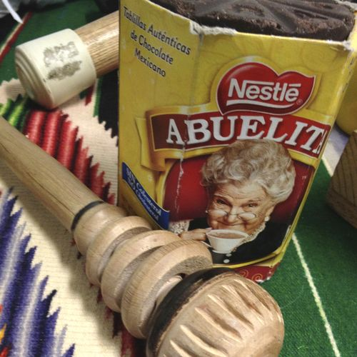 "This wooden tool, called a ""batidor"" or a ""molinillo,"" is used to help prepare the Abuelita drink. Cut off a piece of the chocolate, add it to some hot milk, and then stir to perfection using this traditional Mexican whisk."