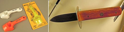 Left: These fish scalers were engraved for Julia Child and her husband, Paul. Simply scraping one against the surface of a fish cleanly removes the scales. Right: This oyster knife aids in the task of shucking oysters. Oyster knife blades are usually short and narrow with blunt tips to make shell penetration easy without cutting the meat. This knife is rigid, giving it prying strength.