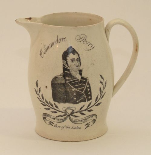 "As a result of his courageous actions, Oliver Hazard Perry is dubbed ""Hero of the Lakes"" on this pitcher, 1815-1820"