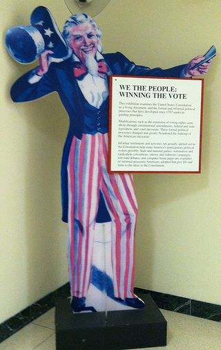 An exhibition prop depicting Uncle Sam leads the way down one of our staff hallways, a landmark for new staff and interns