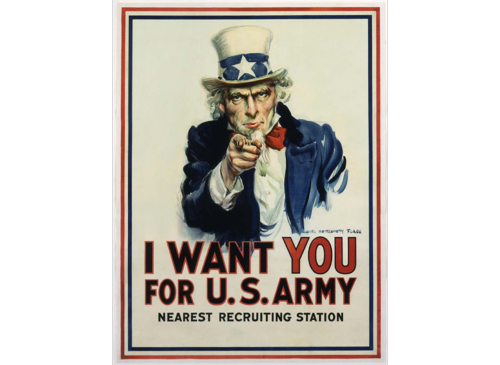 """I Want You for U.S. Army,"" 1917, James Montgomery Flagg, chromolithograph on paper, Smithsonian American Art Museum, Gift of Barry and Melissa Vilkin, 1995.84.53"