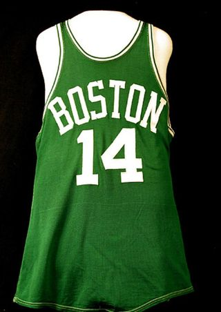 Jersey of Boston Celtics guard Bob Cousy, founder of the NBA players' union and Basketball Hall of Famer