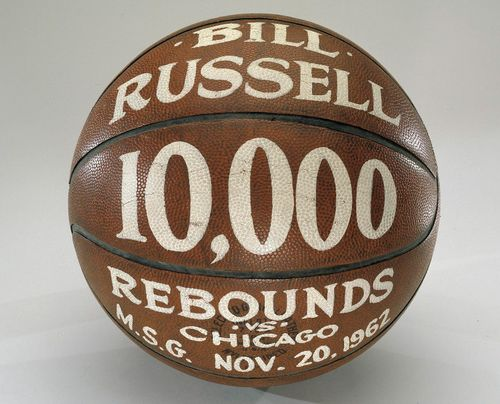 The basketball that Bill Russell, Barnett's teammate and coach on the Celtics, grabbed for his 10,000th career rebound in 1962