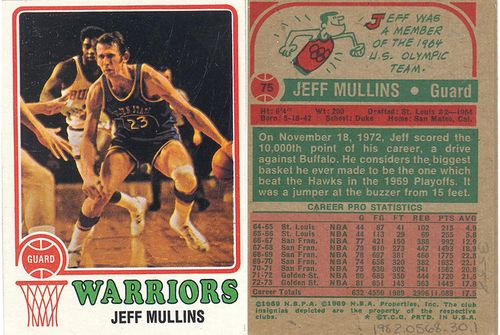 Card of Barnett's teammate, Jeff Mullins. The reverse of the card notes that Mullins was a member of the 1964 U.S. Olympic Team