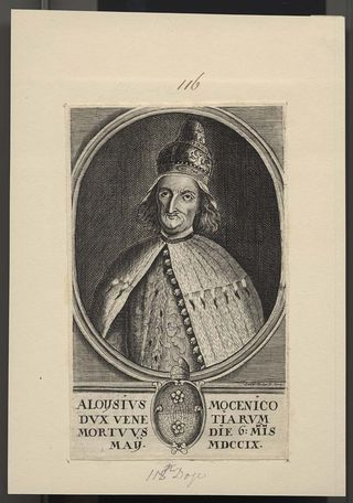 Print of Aloysius Mocenico, Doge of Venice. Engraving prepared by Leo Sexter.