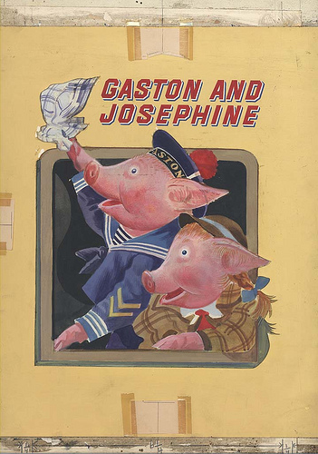 Gaston and Josephine chronicles the escapades of two French pigs who run away from their homeland and sail to America. The story mimics the life of illustrator Feodor Rojankovsky—a Russian émigré who fled Europe in 1937.