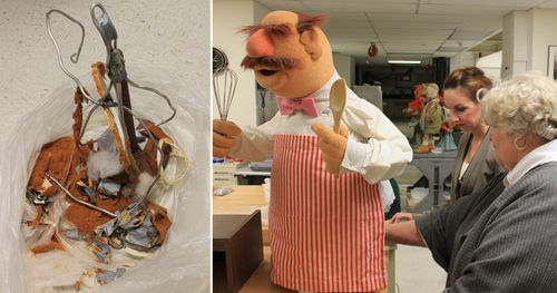 The puppets' materials were not made to last for years in a museum. This plastic bag holds what is left of the polyurethane foam that originally filled the Swedish Chef