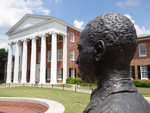A statue of James Meredith on the campus of the University of Mississippi. Photo by Flickr user Adam Jones via the creative commons license.