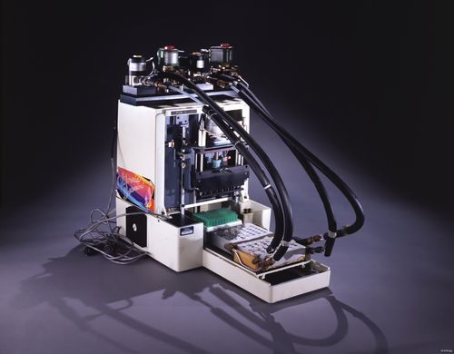 "This object, affectionately referred to as ""Mr. Cycle,"" was the first prototype automated PCR machine or thermal cycler. PCR, short for polymerase chain reaction, was a revolutionary laboratory technique developed by Kary Mullis at Cetus Corporation in 1983."