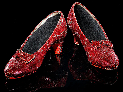 16-year-old Judy Garland wore these sequined shoes as Dorothy Gale in the 1939 film. The size-five shoes, one of several pairs made for the film's production, were probably worn in dance sequences