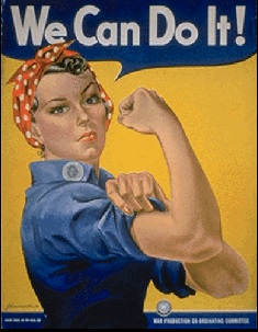 The Westinghouse War Production Coordinating Committee produced this poster from artist J. Howard Miller encouraging women to contribute to production. The image, now iconic after rediscovery in later years, was initially only seen in Westinghouse factories