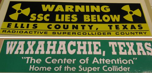 Two collider-related bumper stickers in the collection of the museum's Archives Center