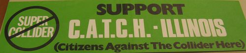 Bumper sticker of an Illinois-based group against the siting of the collider in their area
