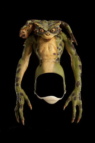 This green model of a gremlin was used in the 1990 live action horror comedy film Gremlins 2: The New Batch, directed by Joe Dante