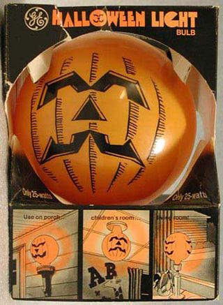 Halloween light bulb in its original packaging