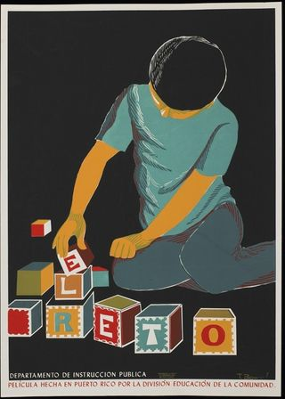 """The Challenge"" promotes a film about a boy with a mental handicap. Films like this were conceived as teaching tools to inform parents about issues that they faced when confronted with the health and the well-being of their children and of their right to social services. Puerto Rico Division of Education Poster Collection, Archives Center, National Museum of American History."