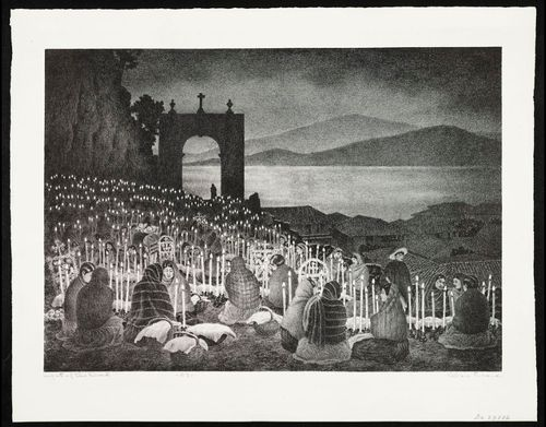 Between October 31st and November 2nd, Día de los Muertos, or Day of the Dead, is celebrated with family, decorating home altars and visiting the graves of loved ones. This lithograph, titled Night of the Dead, was originally drawn in ink by Alan Crane in 1958. Alan Horton Crane (1901–1969) was a Brooklyn-born illustrator best known for his landscapes and genre scenes of life in Mexico and New England.
