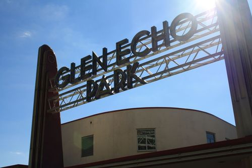 The entrance to Glen Echo Park. This entrance welcomed visitors from Washington, D.C., who came to the park by trolley.