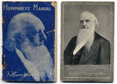 Humphreys' distinctive beard, in the popular style of the era, was good advertising copy for the products his company produced. Here, we see his image on two of his publications, both homeopathy manuals.