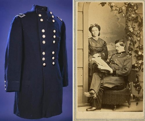 Historic photographs can help you visualize Civil War figures when you see objects that belonged to them. On the left, we see the coat George McClellan wore at the Battle of Antietam, with a photo of him on the right. Right photograph from the Warshaw Collection of Business Americana, Civil War series, Archives Center, National Museum of American History.