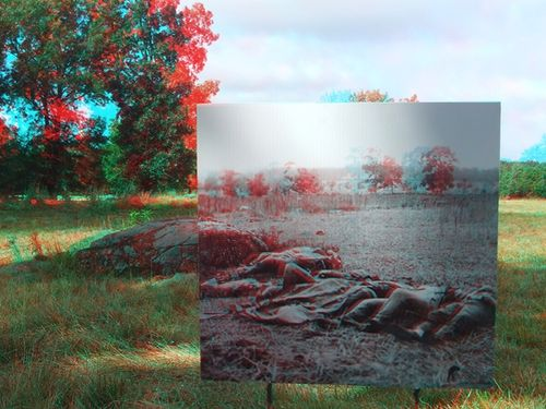 Historic 3D photos can act as windows in time when employed at the spots where they were taken. This photo is from Rose Farm at Gettysburg. For full effect, view with red/blue 3D glasses.