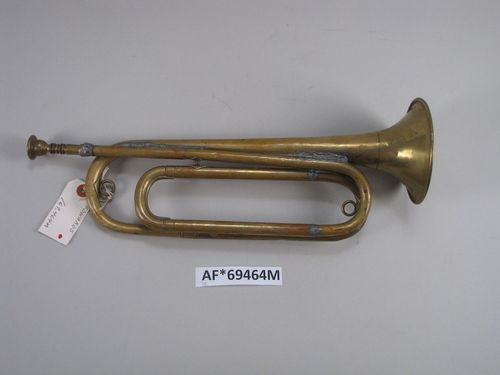 This bugle was manufactured by the Conn Corp. and cost the Army a whopping $6.25. Typically, it would be considered Army property and thus stay with the Army even when the bugler leaves. Due to its battered condition, however, Hartley Edwards was able to keep it.