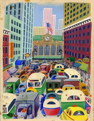 "Illustration from ""The Taxi That Hurried,"" part of our ""Little Golden Books"" exhibition. Division of Music, Sports, and Entertainment, National Museum of American History."