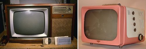 Typically, American families who could afford a television owned one that everyone in the home watched. Television sets like the 1959 RCA one here on the left displayed black and white images. As the nation watched JFK's funeral, less than 5% of American television sets displayed the mournful images in color. On the right is a 1957 Hotpoint model portable television, designed to be easily moved around a house or office.