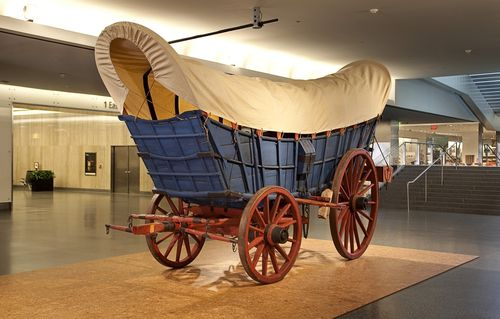 At the museum, my toddler's love of trains might expand to other interesting objects, such as this Conestoga Wagon
