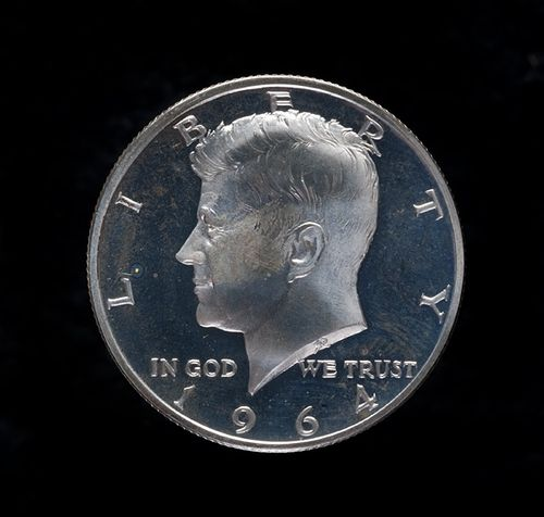 The obverse of the Kennedy half dollar