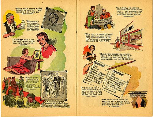 These pages are from a comic book entitled Forward with Eisenhower-Nixon, distributed by the Republican National Congressional & Senatorial Committees, Washington D.C., 1956. Gift of Ralph E. Becker, cat. 227739.1956.K12. What else would you like to know about it?