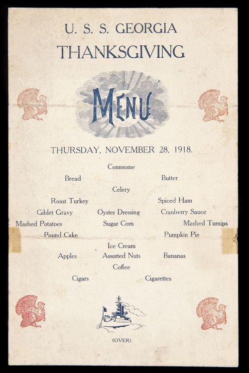 Menu from the U.S.S. Georgia, 1918