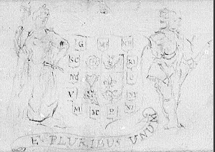 Du Simitière contributed to the design of the Great Seal of the United States. His early sketch includes the E Pluribus Unum motto, the Eye of Providence, and the outline of a shield, all of which were used in the final design.