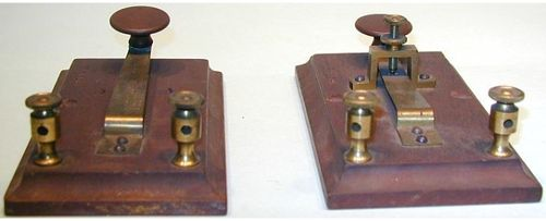 Telegraph keys are electrical on-off switches used to send long and short messages in Morse code. This is a very early strap key used by Joseph Henry in experiments made at the Smithsonian.