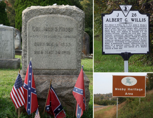 Mosby-related sites about in Virginia. Left: Mosby's grave in Warrenton, Virginia. Top: A Route 522 sign in Rappahannock County, Virginia, about one of Mosby's Rangers being executed. Bottom: Mosby Heritage Area sign on Route 211 in Fauquier County, Virginia.
