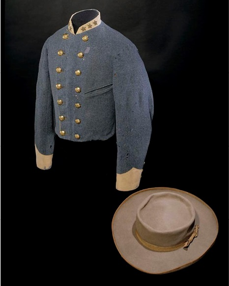This wool jacket and slouch hat both belonged to Mosby, who was wearing the hat when he was wounded by federal cavalry in December 1864. The style of hat came to be known as a Mosby hat.